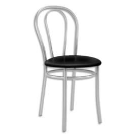 Chaise de collectivité Tulipan assise simili cuir Noir et structure alu - Assise D41 cm, hauteur 48/86 cm photo du produit