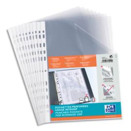OXFORD Sachet de 10 pochettes perforées en polypropylène lisse 9/100e. Format A4, perforation 11 trous. photo du produit