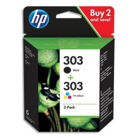 HP 303 Pack de 2 Cartouches d'Encre, Noire et Trois Couleurs, Authentiques (3YM92AE) photo du produit