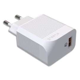 GREEN-E Prise secteur USB-A Qualcomm 3.0/charge rapide Blanche 3A, 18W GR6016 photo du produit