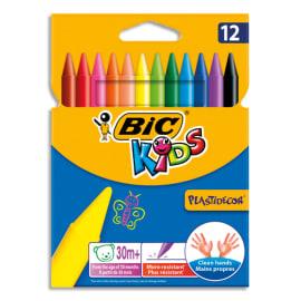 BIC Pochette 12 craies PLASTIDECOR plastique de coloriage diamètre 8mm x longueur 12cm photo du produit
