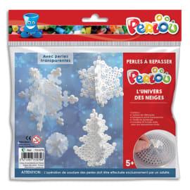 PERLOU Kit d'activité perles à repasser, 1000 perles assorties, 1 plaque, thème l'univers des neiges photo du produit