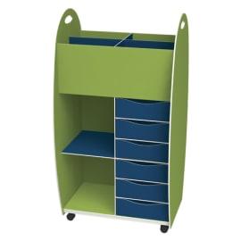 PAPERFLOW Meuble haut dessus 4 cases 6 tiroirs 2 niches anis Bleu livré monté photo du produit
