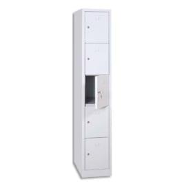 MT INTERNATIONAL Vestiaire 5 Cases 1 Colonne en acier Blanc, L30 x H180 x P50 cm, case L22xH31,5xP47,5 cm photo du produit