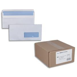 Boîte de 500 enveloppes Blanches 80g DL 110x220 mm fenêtre 35x100 mm autocollantes photo du produit