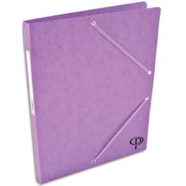 PERGAMY Chemise simple à élastique en carte lustrée 5/10eme 390g. Coloris Violet. Dimensions 24x32cm photo du produit