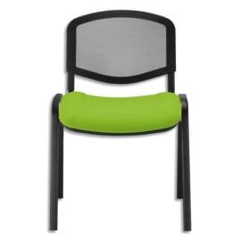 Chaise de conférence Iso Ergo Mesh dossier résille Noir et assise tissu anis, 4 pieds tube époxy Noir photo du produit