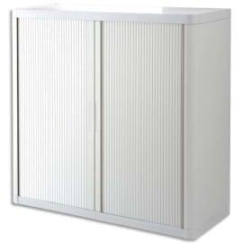 PAPERFLOW EasyOffice armoire démontable corps en PS teinté et rideau Blanc - Dim L110x H104x P41,5 cm photo du produit