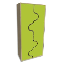 MOBEDUC Armoire haute L80 x H180 X P40 cm, 4 tablettes, portes vague couleur Vert pomme photo du produit