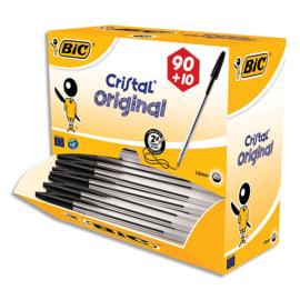 BIC Pack 90 stylos bille Cristal Noir + 10 offerts. Pointe moyenne. photo du produit