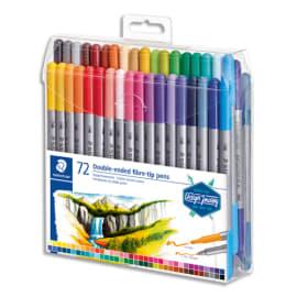 STAEDTLER Set 72 Feutres de coloriage double pointe fine 0,5 à 0,8mm et large 3mm, à base d'eau, assortis photo du produit