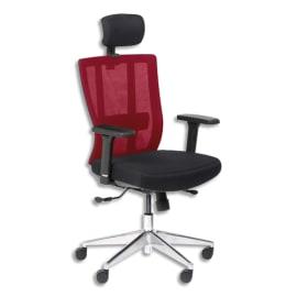 Fauteuil OFFSEAT dossier maille Rouge, assise têtière tissu Noir, synchrone, accoudoirs réglables fournis photo du produit