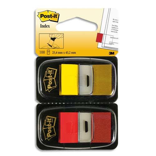 POST-IT Blister de 2 x 50 marque pages standards 25x44mm, coloris Rouge et Jaune photo du produit Principale L