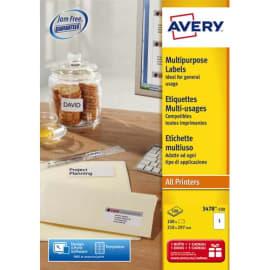 AVERY Boîte de 100 étiquettes Blanches multi usages 210x297mm - pour Laser. Jet d'encre et copieur photo du produit