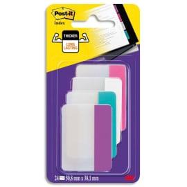 POST-IT Blister de 4 x 6 marque-pages rigides, coloris assortis (Rose, Bleu, Blanc, Violet) photo du produit