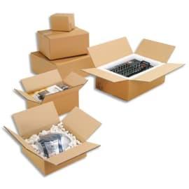 Paquet de 20 caisses américaines simple cannelure en kraft écru - Dimensions : 60 x 40 x 40 cm photo du produit