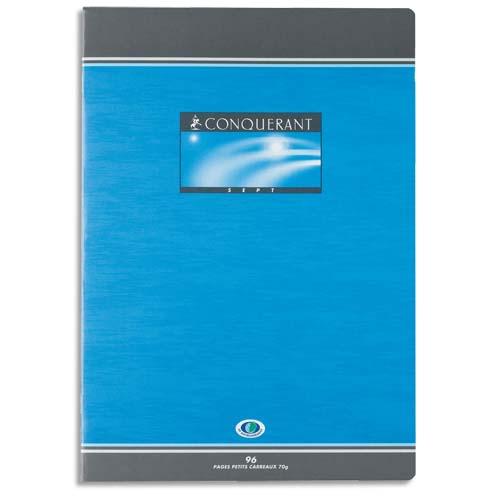 CONQUERANT C7 Cahier piqûre 96 pages grands carreaux 24x32cm. Papier 70g. Couverture carte photo du produit Principale L