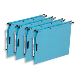 OBLIQUE AZ Boîte de 25 dossiers suspendus ARMOIRE en kraft 240g. Fond V, Velcro. Bleu photo du produit
