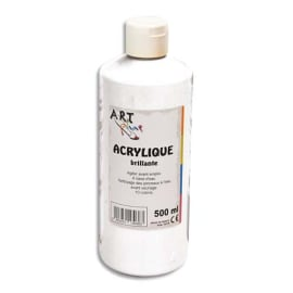 ART PLUS Acrylique brillante 500ml Blanc photo du produit