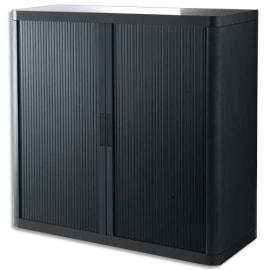 PAPERFLOW EasyOffice armoire démontable corps en PS teinté et rideau Noir - Dim L110x H104x P41,5 cm photo du produit