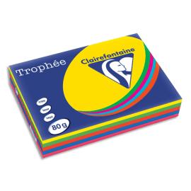CLAIREFONTAINE Ramette 5x100F papier Trophée 80g A4 assortis intense soleil,menthe,cardinal,BleuT,Fuchsia photo du produit