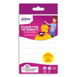 AVERY Blister de 36 étiquettes vêtements autocollantes 13 x 45 mm, coloris Blanc photo du produit