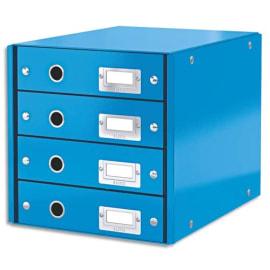 LEITZ Module de classement 4 tiroirs WOW en carton recouvert de polypropylène. Coloris Bleu. photo du produit