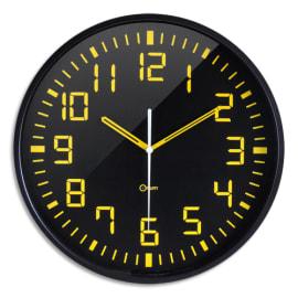 ORIUM Horloge Contraste à cadran Noir chiffres Jaunes, ABS et Verre minéral, Quartz sweep, D30 cm x P3 cm photo du produit