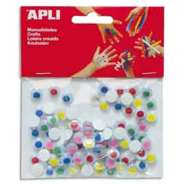 APLI Sachet de 100 yeux adhésifs ronds, diamètre 10 mm, pupilles de couleur sans cil assortis photo du produit