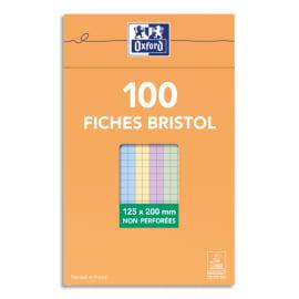 OXFORD Boîte distributrice 100 fiches bristol non perforées 125x200mm 5x5 assortis photo du produit