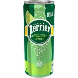 PERRIER Canette d'eau pétillante 33 cl minérale arôme Citron Vert photo du produit