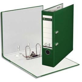 LEITZ Classeur à levier 180 degrés, en carton rembordé de polypropylène, dos 8cm coloris Vert foncé photo du produit