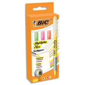 BIC Pochette de 4 surligneurs FLEX. Coloris : Jaune, Rose, Orange et Vert. photo du produit