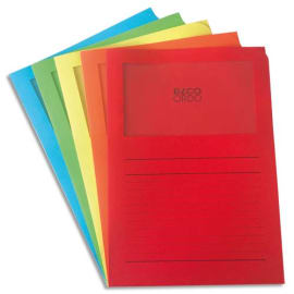 ELBA Paquet de 10 pochettes coins ELCO ORDO format 22x31cm à fenêtre 120g. Coloris assortis 5 couleurs photo du produit