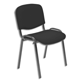 Chaise de conférence Iso Classic en tissu polyfibre Noir, structure 4 pieds en métal époxy Noir photo du produit