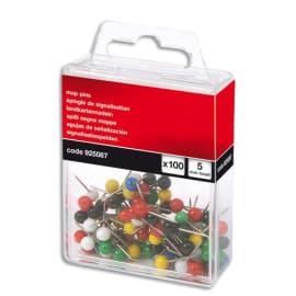 Boîte de 100 épingles de signalisation tete boule dia Coloris assortis. photo du produit