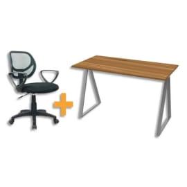 Ensemble bureau Home Office LV9 Gris métal/Noyer + siège Hygie dossier en maille et assise en tissu Noir photo du produit