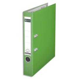 LEITZ Classeur à levier 180 degrés, en carton rembordé de polypropylène, dos de 8cm. Coloris Vert clair photo du produit
