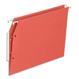 Boîte de 25 dossiers suspendus ARMOIRE en kraft 220g. Fond V, volet agrafage + pression. Rouge photo du produit