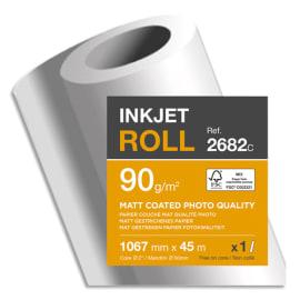 CLAIREFONTAINE Bobine papier Blanc CIE153 Couché Mat 90g pour traceur 1,067mmx45m. Qualité photo photo du produit