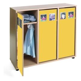 MOBEDUC Vestiaire pour 6 enfants 104 x 40 x 101 cm, Jaune photo du produit