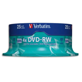 VERBATIM tour de 25 DVD-RW 4x 43639 photo du produit