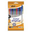 BIC Pochette de 10 stylos à bille pointe moyenne 4 couleurs d'encre corps plastique transparent CRISTAL photo du produit