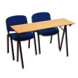 SODEMATUB Table formation séminaire hêtre pietement Noir 2 places 120x40cm photo du produit