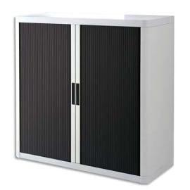 PAPERFLOW EasyOffice armoire démontable corps en PS teinté Blanc rideau Noir - Dim L110x H104x P41,5 cm photo du produit