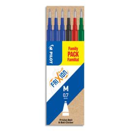 PILOT Set de 6 recharges FriXion 3 Bleu, Noir, Rouge, Vert - Pointe moyenne photo du produit