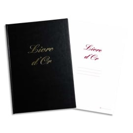 ELVE Livre d'Or format 210x160mm Noir 148 pages. Couverture aspect cuir photo du produit