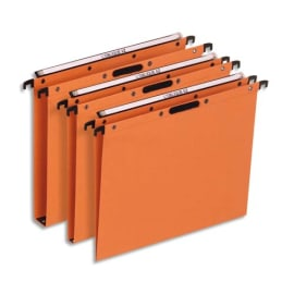 OBLIQUE AZ Boîte de 25 dossiers suspendus TIROIR en kraft 240g. Fond 15, Velcro. Orange photo du produit