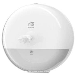 TORK Mini Distributeur de papier toilette en rouleau SmartOne T9 Blanc ABS - Diamètre 21,9 cm photo du produit