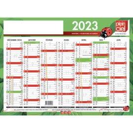 PLEIN CIEL Calendrier bancaire, 7 mois par face soit 14 mois - format : 40,5 x 55 cm photo du produit